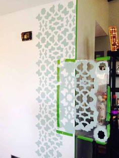 Stenciling a DIY accent wall using the Zamira Allover Stencil from Cutting Edge Stencils.   http://www.cuttingedgestencils.com/moroccan-stencil-designs.html?utm_source=JCG&utm_medium=Pinterest%20Comment&utm_campaign=Zamira%20Allover
