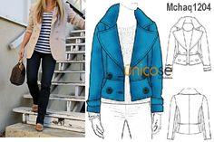 Esta chaqueta es perfecta para complementar un look casual. El molde encuéntralo en www.unicose.net / Código 10021204