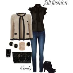 Jeans Outfit (Black + Beige)
