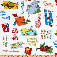 Celebrate Seuss Allover Titles White from @fabricdotcom  Licensed to Robert Kaufman Fabrics by Dr. Seuss Enterprises, this cotton print features popular Dr. Seuss book titles and characters. Colors include orange, blue, yellow, red and green on a white background.