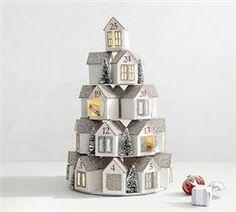 Pottery Barn Light-Up Stacking House Glitter Advent Calendar Advent Calendar House, Christmas Calendar, Diy Calendar, Noel Christmas, Christmas Gift Tags, Christmas Countdown, Christmas Tables, Nordic Christmas, Modern Christmas