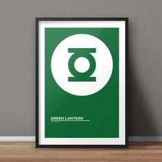 Green Lantern Poster, Comic Poster, Superhero Poster, Minimalist Poster, Flat Poster Design, Clean Poster Design, Digital Printable Poster