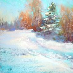 Winter Landscape Holiday Art  6x6 Original Pastel painting by Karen Margulis