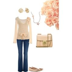 Light pink outfit with rose gold jewelry. The top is so cute! Kinda pricey (but that doesn't surprise me too much).