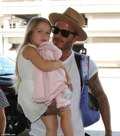 Devoted dad: David Beckham once again made hearts melt when he shared a sweet snapshot of his playdate with the adorable five-year-old daughter Harper