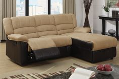 """2 Pc Greenbrooke collection 2 tone hazelnut microfiber and brown bonded leather sectional sofa with right side chaise and recliner chair. This sectional features a Chaise on one side of the sectional and a recliner chair on the other side with a stationary seat in the middle. Chaise measures overall 83"""" Wide x 36"""" D x (30"""" W x 64"""" L chaise) x 37"""" H back. Some assembly required."""