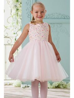 73dd0d2330d Pink Satin   Tulle Dress w  Multi Color Hand Beaded Bodice