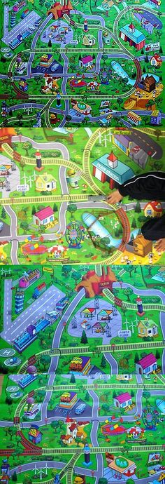 Exceptional Rugs 154001: Large Town Airport Train Track Street Road Play Mat. Car Farm  Kid