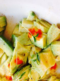 Super chunky guacamole with micro green cilantro