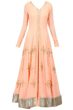 This, but one layer, a pale dusty rose, no centre split at all so no centre borders. with a contrasting cream/gold dupatta.