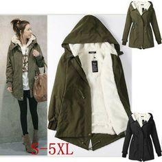 0ea037613a63 Plus Size Women s Winter Warm Hooded Fleece Coat Thicken Long Jacket Parka  Tops  fashion