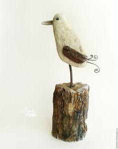 Driftwood art   Купить Альбатрос, весенний птенец. Фигурка птицы, дрифтвуд - белый, птичка, весенняя, скульптура