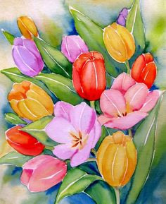 """Tulips Bouquet II ""  © Meltem Kilic, painting by artist Meltem Kilic"