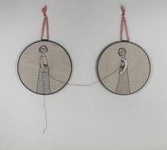 hand embroidery hoop art  the mender by MarysGranddaughter