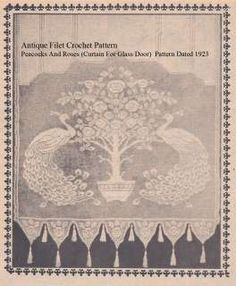 Antique Peacocks And Roses Filet Crochet Pattern #CR8