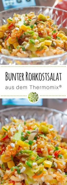 Colorful raw salad from the Thermomix® - Vegetarische Rezepte aus dem Thermomix® - Salad Recipes Healthy Lunch, Salad Recipes For Dinner, Salad Dressing Recipes, Chicken Salad Recipes, Raw Food Recipes, Drink Recipes, Quinoa, Vegan Appetizers, Greens Recipe