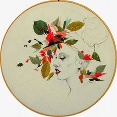 Embroidery hoop portraits