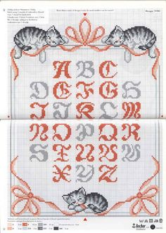 Looking for cat designs Cross Stitch Letters, Cross Stitch Boards, Cross Stitch Baby, Cross Stitch Samplers, Cross Stitching, Cross Stitch Embroidery, Diy And Crafts Sewing, Cat Crafts, Plastic Canvas Letters