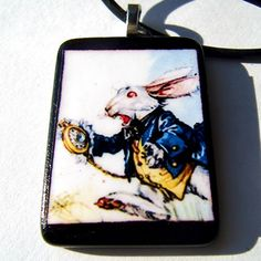 Pendant WHITE RABBIT recycled game tile Swarovski crystals | LDPhotography - Earth Friendly on ArtFire #afpounce