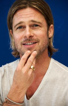 Brad Pitt, male actor, celeb, hand, fingers, beard, long hair style, powerful face, intense eyes, gesture, eyecandy, sexy, macho, steaming hot, portrait, photo