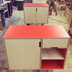 Sweet and simple maple plywood bathroom vanities. Poppy laminate. By Kerf Design kerfdesign.com