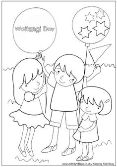 Waitangi Day party colouring page