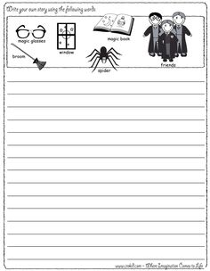 Writing Fun ~ Wizards & Magic ~ Write your own story using our writing prompts. We give you five words on our printout sheet and you create a story. First Grade - Second Grade - Third Grade. Get your pens ready & let the fun begin! www.crekid.com