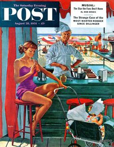 Babysitter at Beach Stand – George Hughes Who says you can't mix work and play? Sipping a soda and rocking a bonnet-clad tot, this babysitter just might perfect the art of multitasking as long as that begrudging chef doesn't boil the milk.