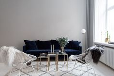 Beni Ourain rug and velvet couch