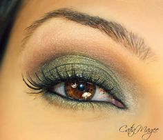 Makeup for Brown eyes can wear any color eyeshadow,  different eyeshades will have different effects.  Using a green with gold will bring out the yellow tones in brown eyes and makes them warm.