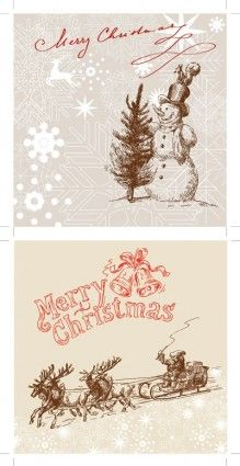 line drawing christmas cards vector