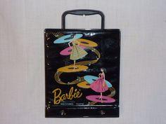 Vintage 1961 Mattel Barbie Black Vinyl 45 RPM Record Tote Mid Century