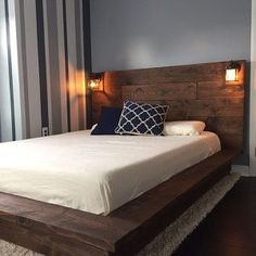 Floating Wood Platform Bed frame with Lighted Headboard-Quilmes - Bed Headboard - Ideas of Bed Headboard - Sale! off Floating Wood Platform Bed frame with Lighted Headboard-Quilmes Floating Platform Bed, Floating Bed Frame, Wood Platform Bed, Floating Headboard, Platform Bed Plans, Platform Bed With Drawers, Wooden Bed Headboard, Headboard Pallet, King Size Platform Bed