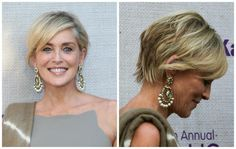 Sharon Stone The Best Short Haircuts for Women Over 50: Side-swept Bangs