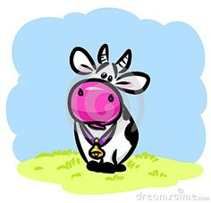 Funny cow cartoon illustration    field meadow grass