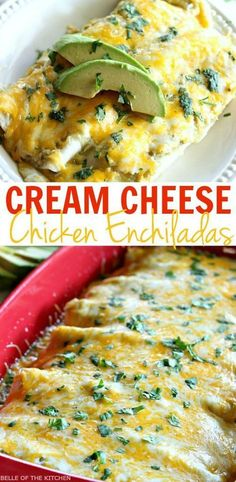 These Salsa Verde Chicken Enchiladas are made with a creamy and delicious filling, and smothered with cheese. They will kick any Mexican food craving! I Love Food, Good Food, Yummy Food, Mexican Food Recipes, Dinner Recipes, Vegetarian Mexican, Mexican Desserts, Dinner Ideas, Dessert Recipes