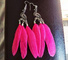 Peakock earrings!!!!!   #earrings #jewelry #feathers #pinkearrings #fashion #peakock #greece #alternative #indie #style #cute #pinterest #hippie