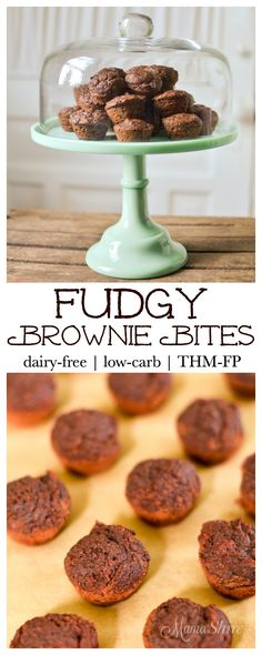 Fudgy Brownie Bites - Dairy-free, Egg-free, Sugar-free, Low-carb, Low-fat. Can be made nut-free! THM-FP