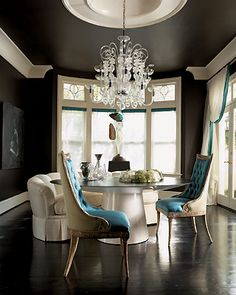 Dining room - Sofa seating & bright upholstered chairs