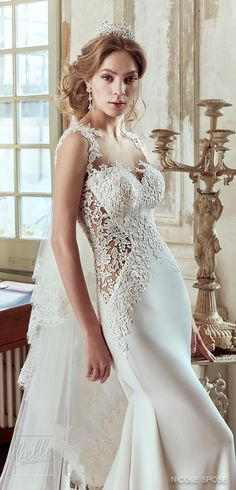 Nicole Spose Wedding Dress Collection 2017 | Fitted lace bridal gown with illusion neckline and sheer panels #weddingdress #bridalgown #brides #weddings #bridal
