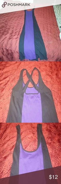 NWOT - Maxi Dress NWOT - Blue & black maxi dress. Small slits on each side. Cross back. Dresses Maxi