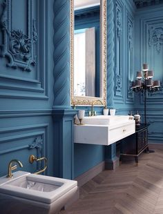 54 New Ideas Apartment Decorating Blue Shelves Classic Home Furniture, Classic Interior, Blue Shelves, Dining Room Blue, Dining Rooms, Classic House, Apartment Interior, My New Room, Bathroom Interior Design