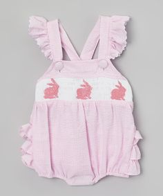 Loving this Smock Candy Pink Bunny Seersucker Ruffle Romper - Infant on #zulily! #zulilyfinds