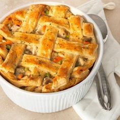 A light and flaky puff pastry crust is what makes this pot pie the ultimate.  It's a great way to turn leftover chicken and veggies into a whole new and delicious dish. Comments