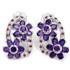 Orecchini in argento con fiori di rubini del Madagascar e ametiste dell'Uruguay