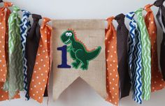 Dino dinosaur first one birthday highchair high chair banner bunting cake smash
