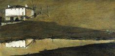 Andrew Wyeth (1917 — 2009, USA) Brown Swiss. 1957  tempera on panel. 30 x 60 1/8 in. (76,2 x 152,7 cm.) © Andrew Wyeth www.andrewwyeth.com