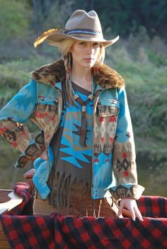 Canoe Jacket in blue. Awesome jean jacket style tribal piece.  www.tpsaddleblanket.com
