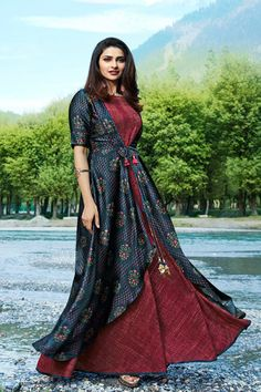 Buy Groovy Maroon-Blue Colored Partywear Printed Satin-Crepe Jacket Style Long Kurti at Rs. Get latest Partywear kurti for womens at Peachmode. Tunic Designs, Salwar Designs, Indian Gowns, Indian Outfits, Indian Clothes, Indian Wear, Kurti With Jacket, Kurti Sleeves Design, Printed Gowns