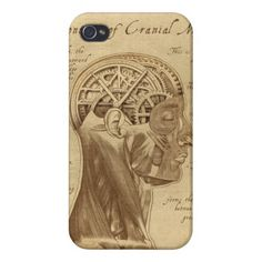 Mechanically Inclined Sepia Vertical Cover / Case For iPhone 4 - Muscles, Brain, Anatomy, Gears and Cogs with a Mechanical, engineering or steampunk theme. Metal, machinery, industrial and steampunk gift products for sale.